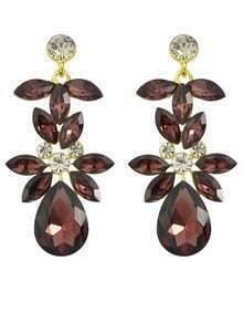 Winered Rhinestone Flower Drop Earrings