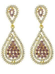 Colored Rhinestone Drop Earrings