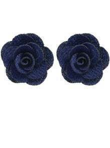 Navyblue Flower Stud Earrings