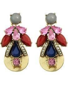 Gemstone Flower Shape Earrings