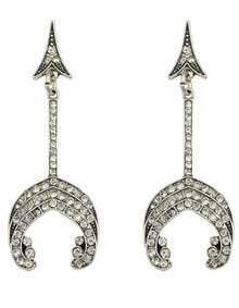 Silver Plated Rhinestone Drop Earrings