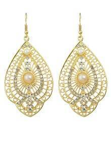 Gold Plated Gemstone Large Earrings