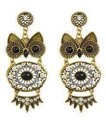 Black Rhinestone Owl Shaped Earrings
