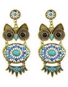 Blue Rhinestone Owl Shaped Earrings