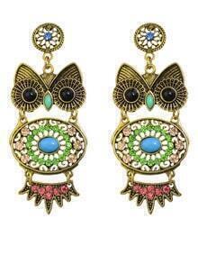 Green Rhinestone Owl Shaped Earrings