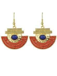Blue Red Beads Geometric Drop Earing