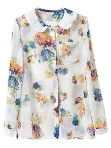 Multicolor Peter Pan Collar Pocket Print Blouse