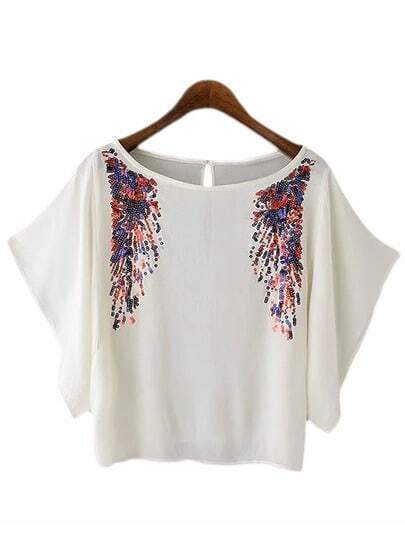 White Scoop Neck Sequined Batwing Sleeve Blouse