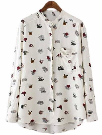 White Stand Collar Pocket Print Blouse