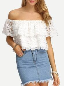 White Off The Shoulder Lace Crop Top