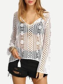 White Lace Up Hollow Out Shirt