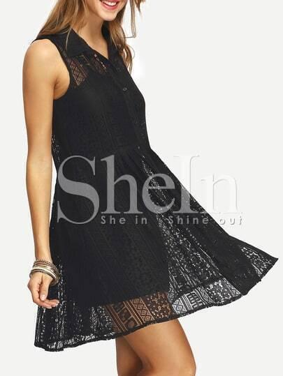 Black Sleeveless A-Line Shirt Dress