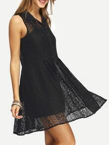 Black Sleeveless A-Line Shirt Dress