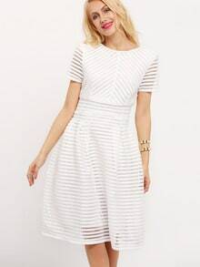 White Short Sleeve Hollow Out Flippy Dress