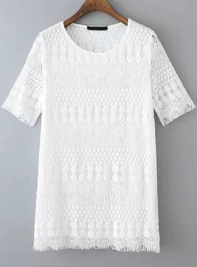 Round Neck Lace A-Line Dress
