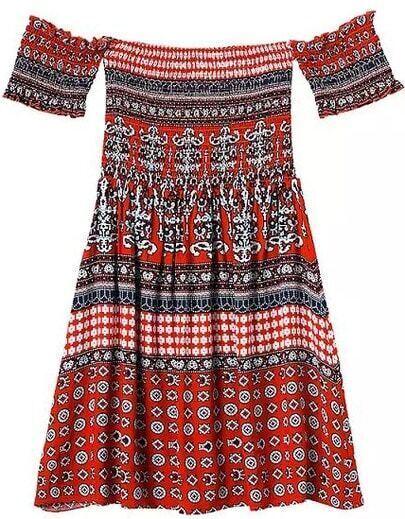 Off The Shoulder Vintage Print Pleated Orange Dress
