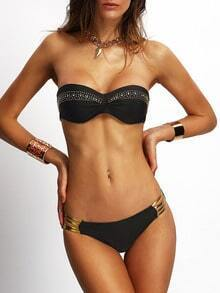 Rhinestone Studded Ladder Cutout Bandeau Bikini Set