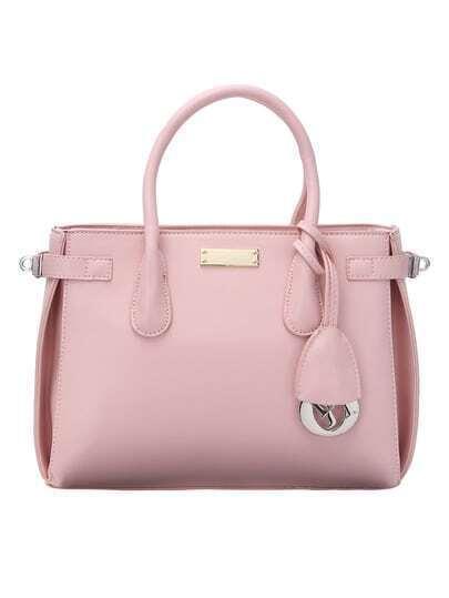 Top Zip Side Turn Lock Pink Double Tote Bag