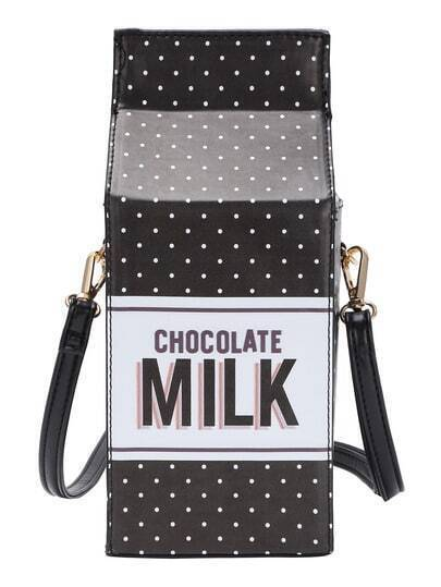 Dot Print Milk Carton Shaped Shoulder Bag