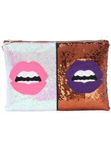 Embroided Lips Sequine Featured Brown Clutch Bag