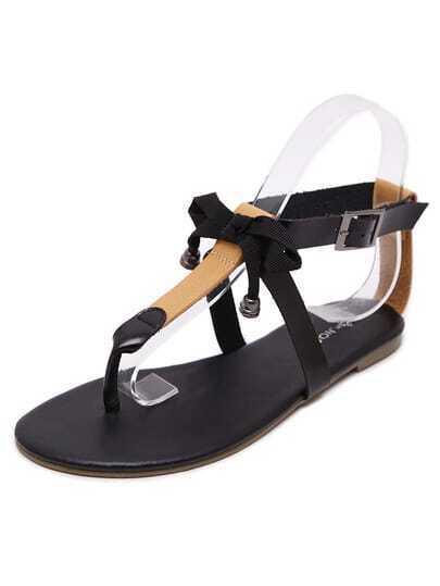 sandale plate forme avec n ud noir french shein sheinside. Black Bedroom Furniture Sets. Home Design Ideas