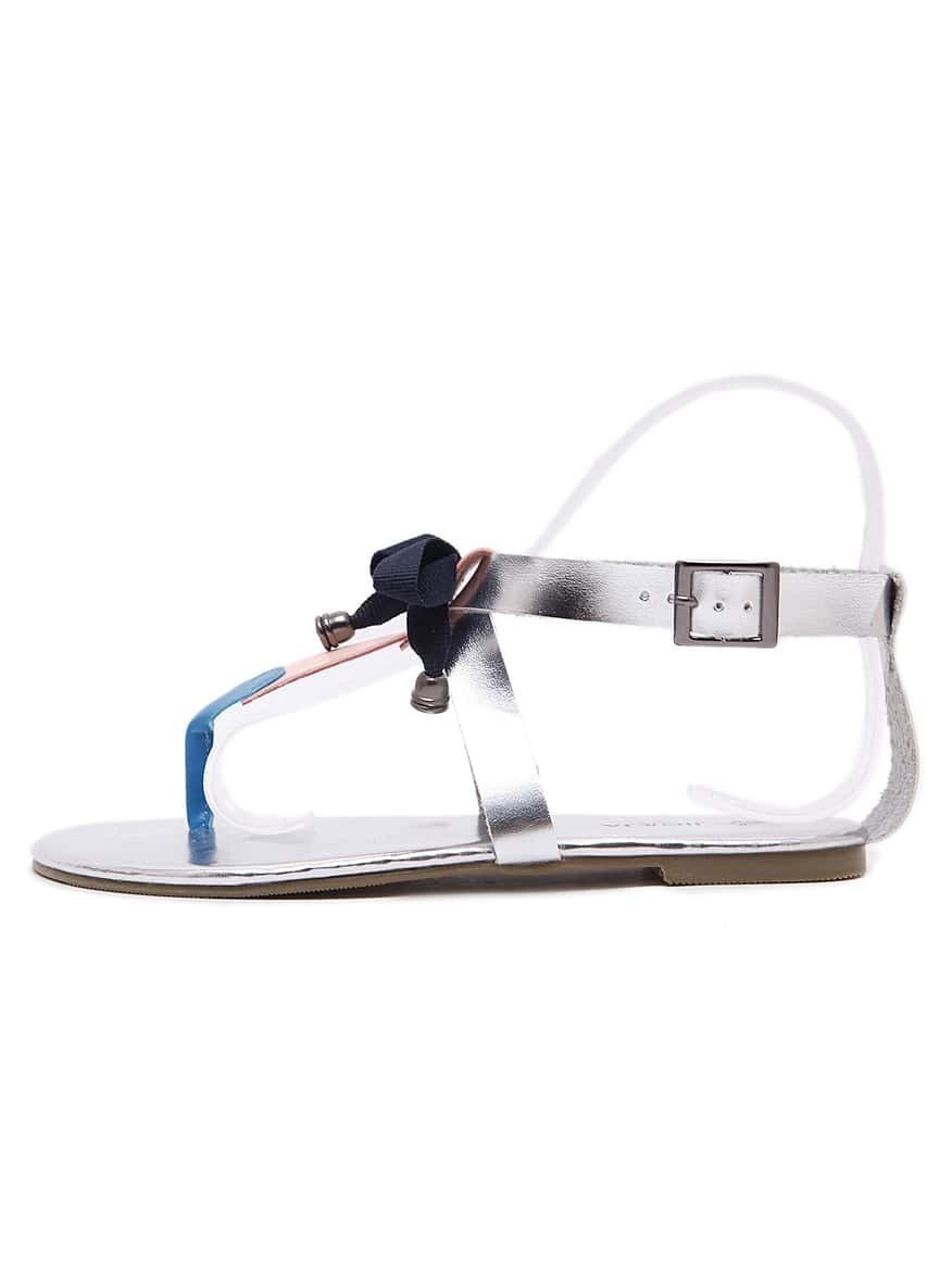 sandale plate forme avec n ud argent french shein. Black Bedroom Furniture Sets. Home Design Ideas