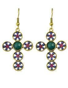 Blue Cross Shape Beads Earrings