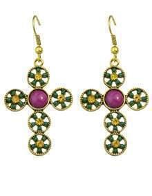 Green Cross Shape Beads Earrings