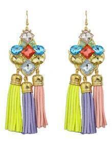 Rhinestone Pu Leather Tassel Earrings
