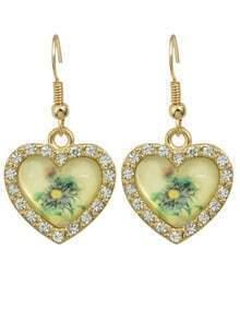 Rhinestone Heart Shaped Earrings