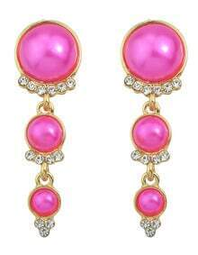 Hotpink Long Hanging Pearl Earrings