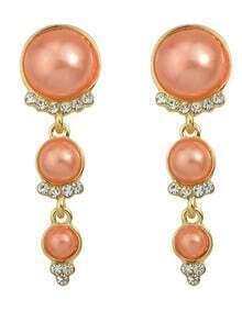 Orange Long Hanging Pearl Earrings
