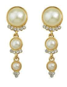 White Long Hanging Pearl Earrings