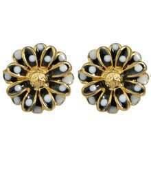Black Flower Shape Stud Earrings
