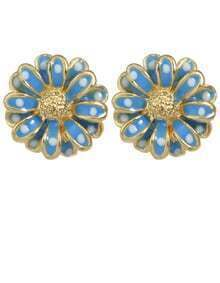 Blue Flower Shape Stud Earrings