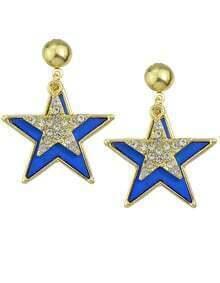 Blue Enamel Star Stud Earrings