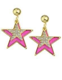 Hotpink Enamel Star Stud Earrings
