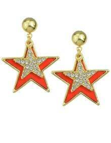Red Enamel Star Stud Earrings