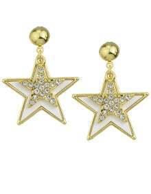 White Enamel Star Stud Earrings