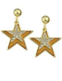 Yellow Enamel Star Stud Earrings