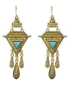 Gold Turquoise Long Drop Earrings