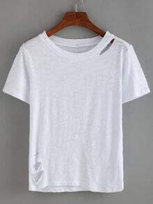 Plain Round Neck Cutout White T-shirt