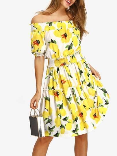 Flower Print Off-the-shoulder Smocked Dress