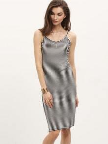 Striped Round V Neck Backless Cami Dress