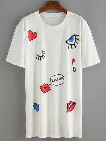 Eye&Lips Print T-shirt Dress
