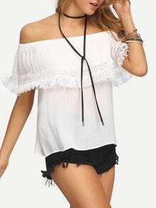 Eyelash Lace Trimmed Off-the-shoulder White Blouse
