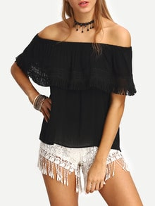 Eyelash Lace Trimmed Off-the-shoulder Black Blouse