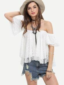 Hollow Out Crochet Off-the-shoulder Swing Blouse