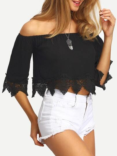 Crochet Lace Trim Bardot Top