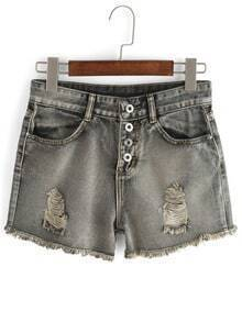 Frayed Buttoned Fly Jeans Shorts
